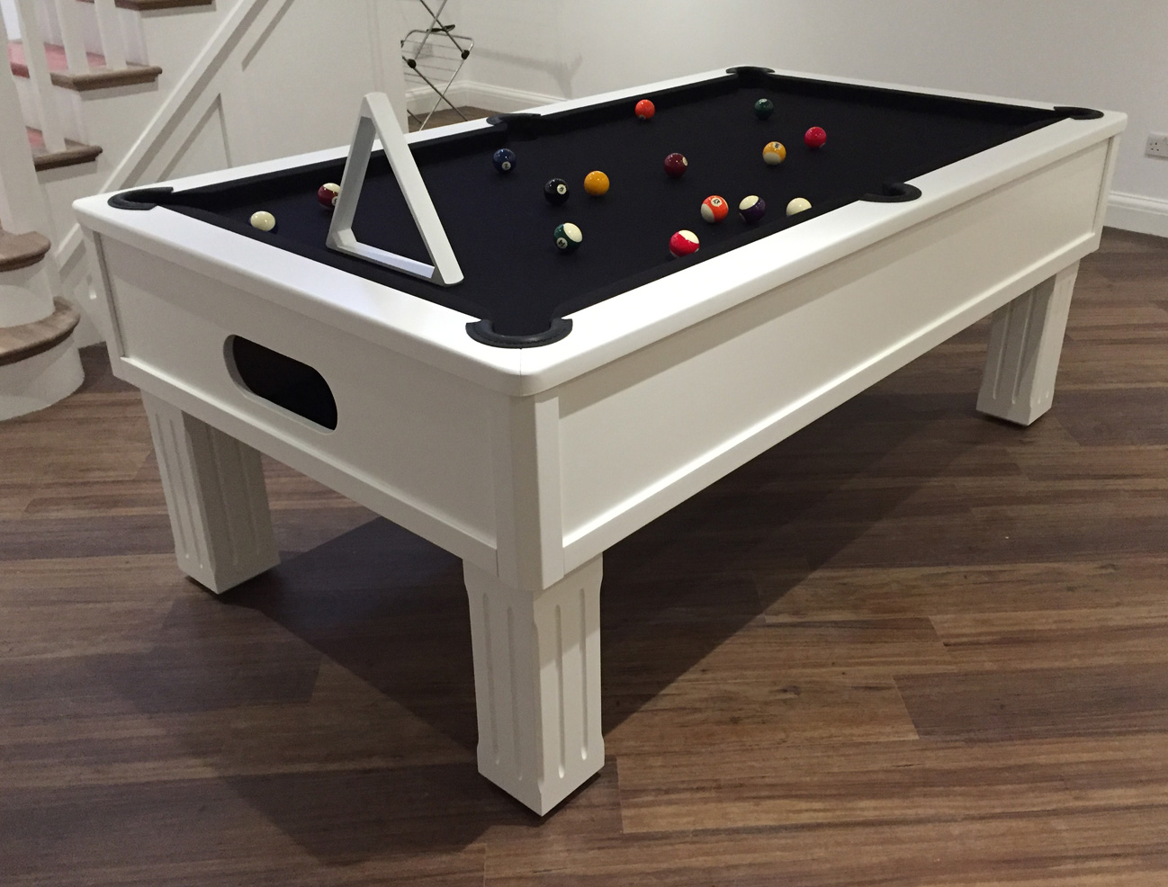 Emperor UK Pool Table in White with Black Cloth