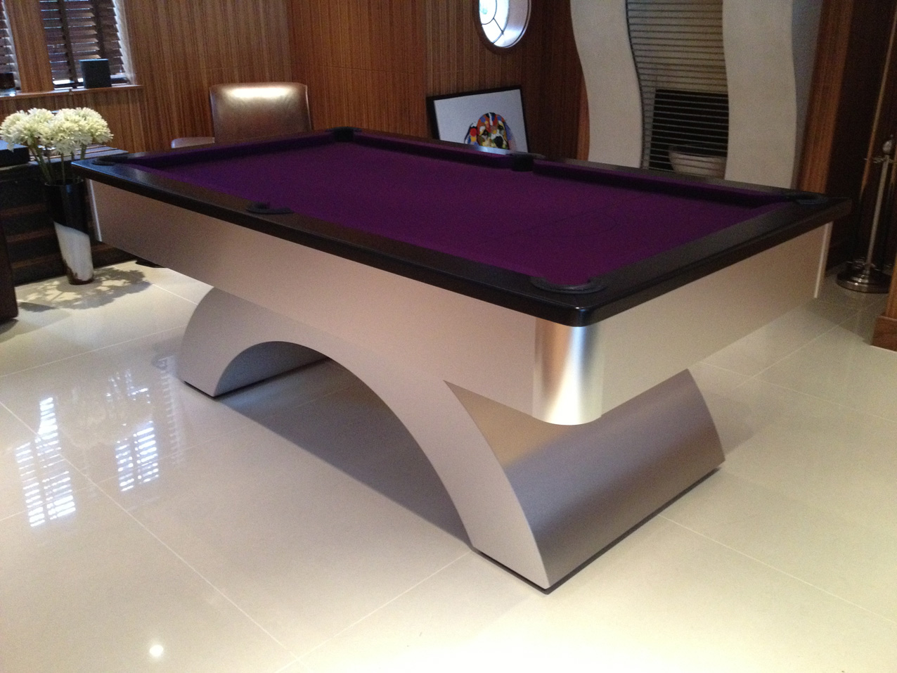 Black Cushion Rail With Purple Cloth Arched UK Pool Table