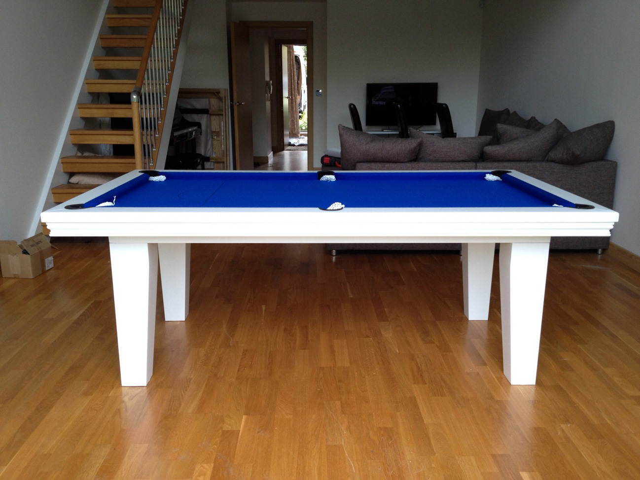 Pool Dining Table In White Blue Snooker Pool Tables - Milano pool table