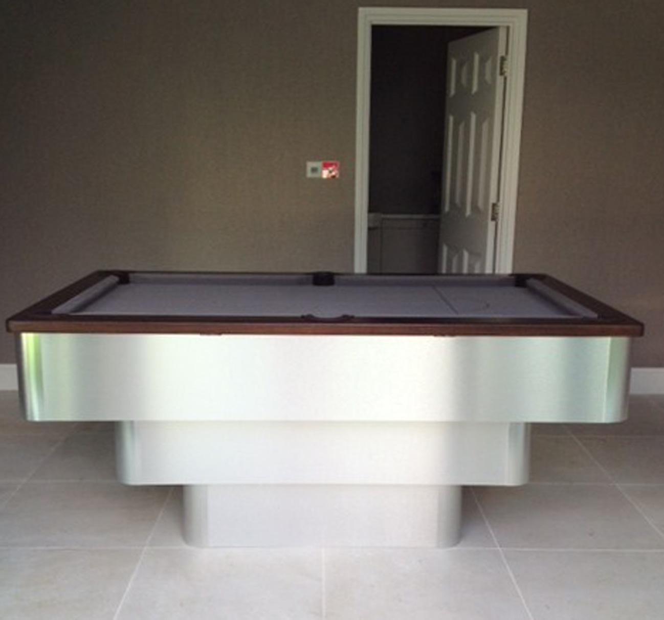brushed aluminium tiered contemporary english pool table silver rh snookerandpooltablecompany com