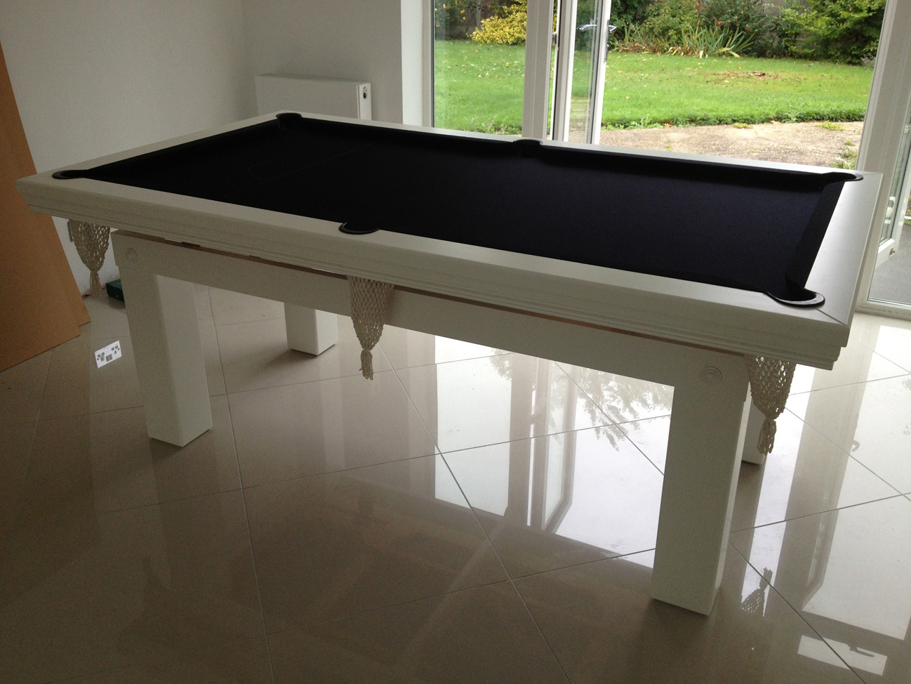 Pool diner 7ft in white black snooker pool table for 7ft dining room table
