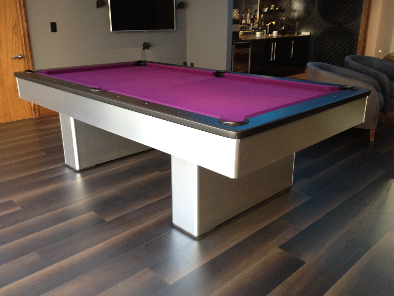 Olhausen Monarch Pool Table In Brushed Aluminium Purple Cloth - Aluminum pool table