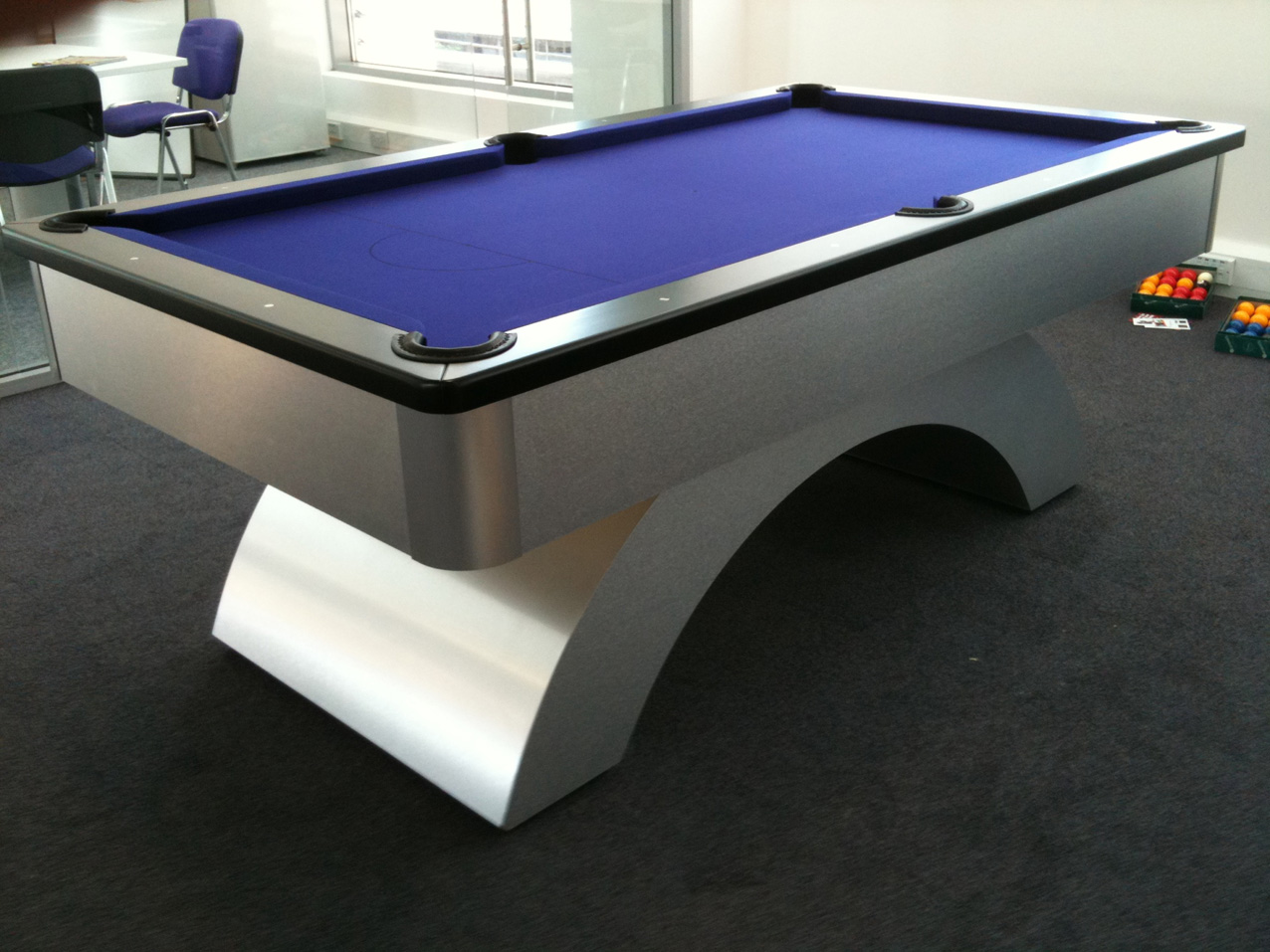 Black Cushion Rail with Blue Cloth Arched UK Pool Table : 241 from www.snookerandpooltablecompany.com size 1276 x 957 jpeg 330kB