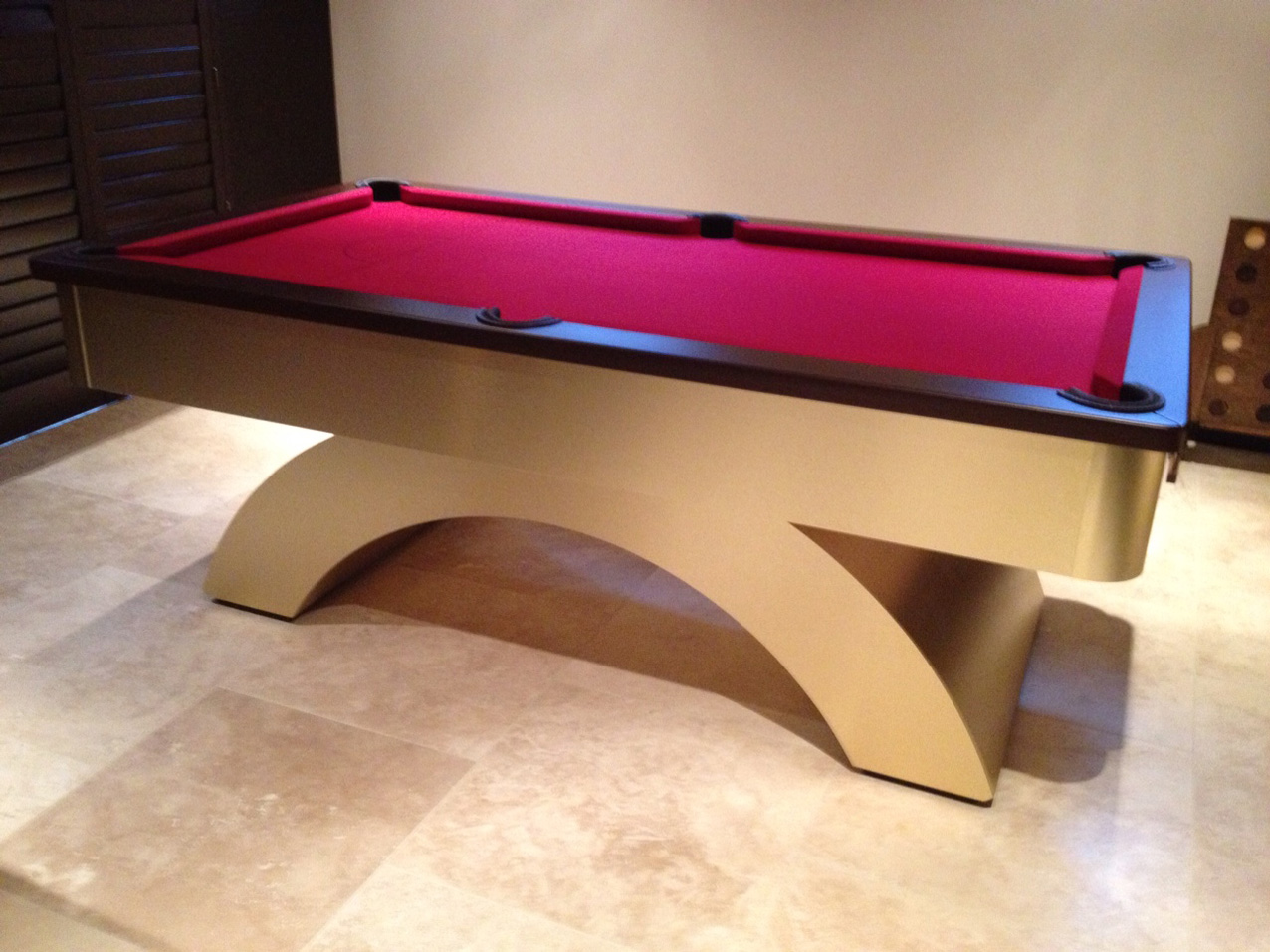 Arched Contemporary UK Pool Table   Brushed Brass