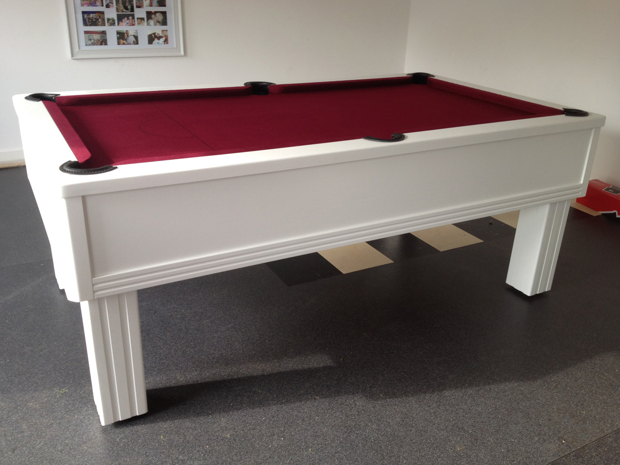 Emperor In White With Burgundy Cloth Modern UK Pool Tables - White billiard table