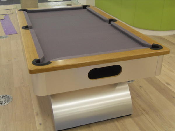... Pool Table With Oak Cushion / Grey Cloth View. View