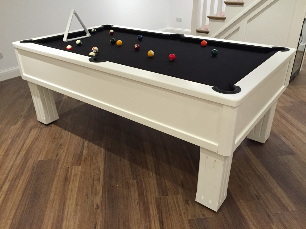 Emperor White Black Cloth Modern Bespoke Uk Pool Tables