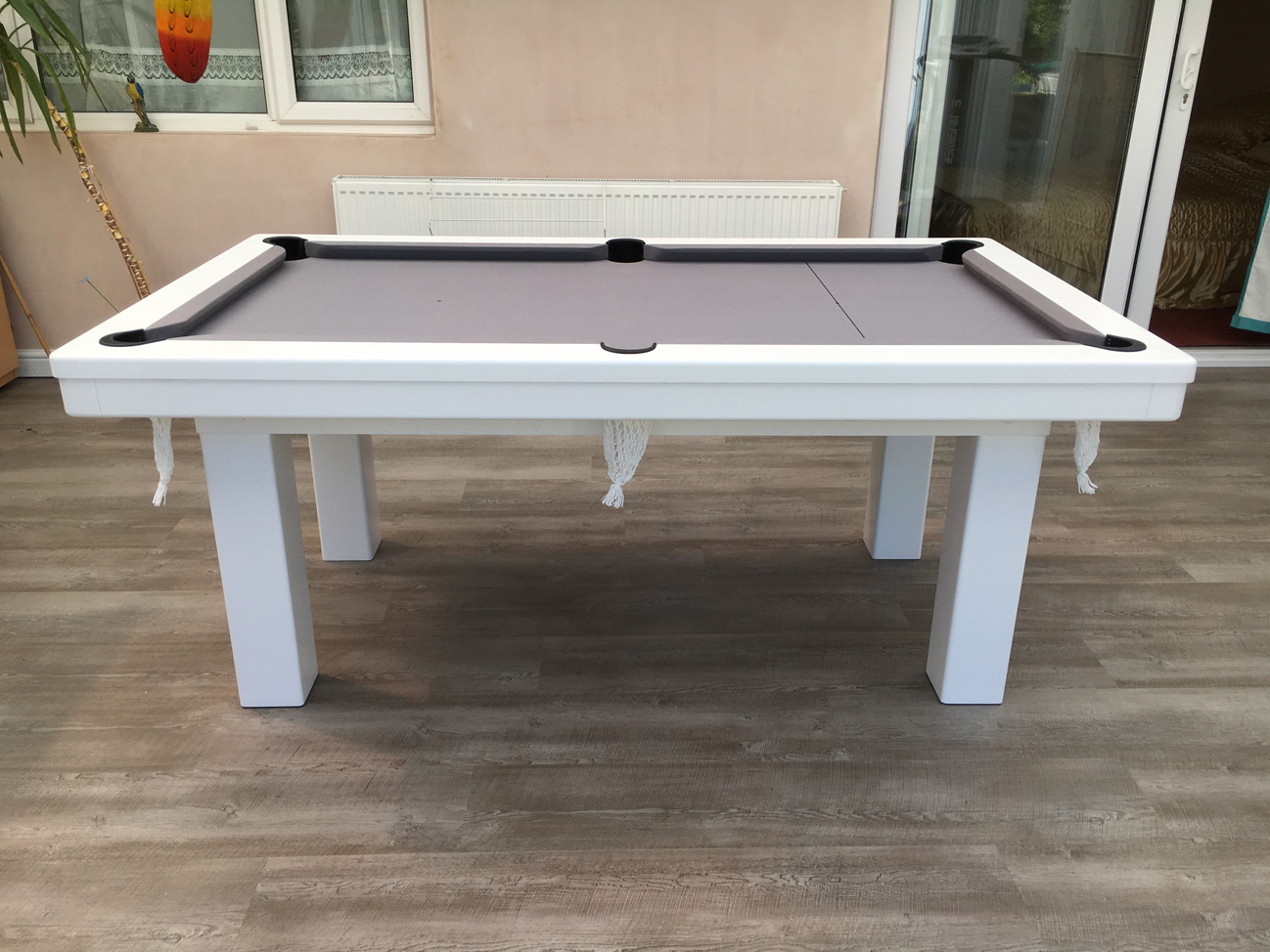 Modern 6ft Pool Dining Table in White Silver Pool  : 3132 from www.snookerandpooltablecompany.com size 1298 x 974 jpeg 366kB