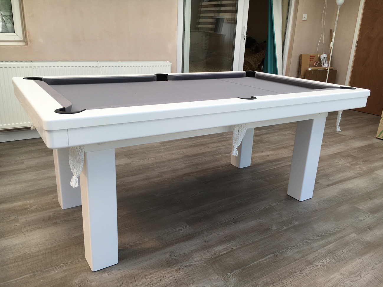 Modern 6ft Pool Dining Table In White Silver Pool Table Company