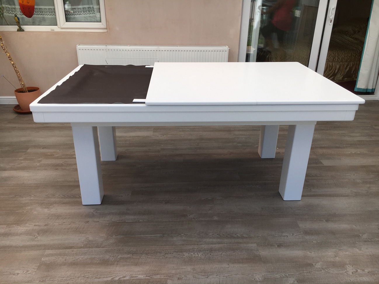 Modern 6ft pool dining table in white silver pool Pool dining table