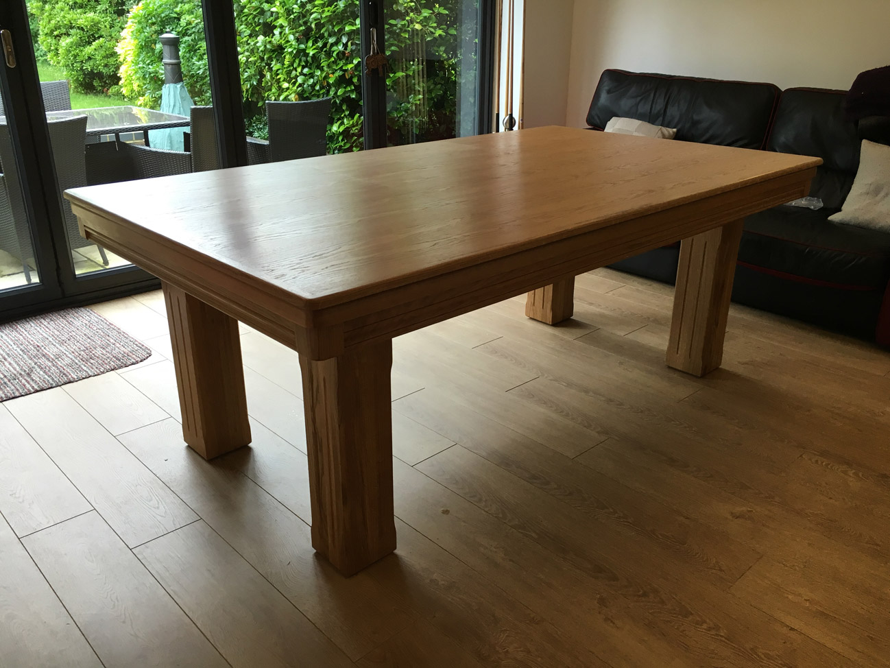 Modern 7ft pool dining table in oak red pool table company for Latest style dining table
