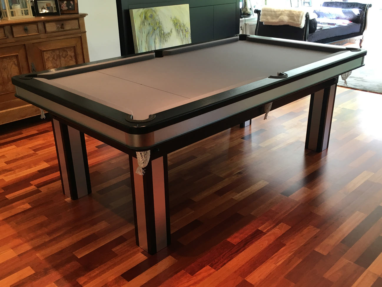 pool dining table with brushed aluminium inserts snooker pool tables. Black Bedroom Furniture Sets. Home Design Ideas
