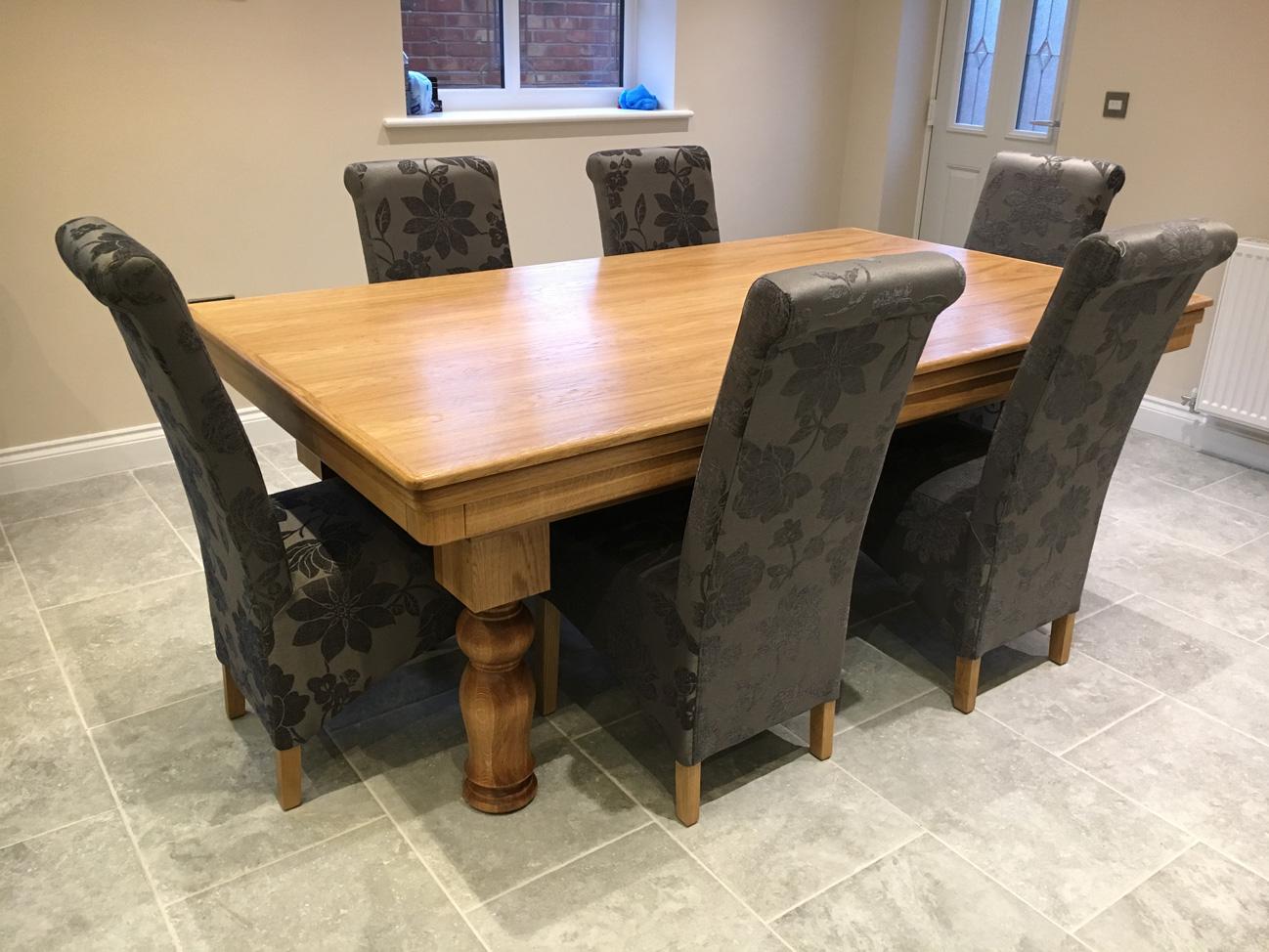 Modern 7ft Pool Dining Table In Oak Tulip Legs