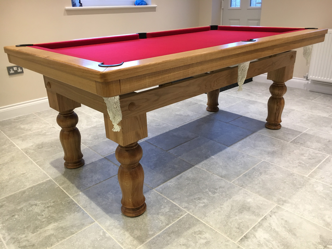 Modern 7ft pool dining table in oak tulip legs pool for 7ft dining room table