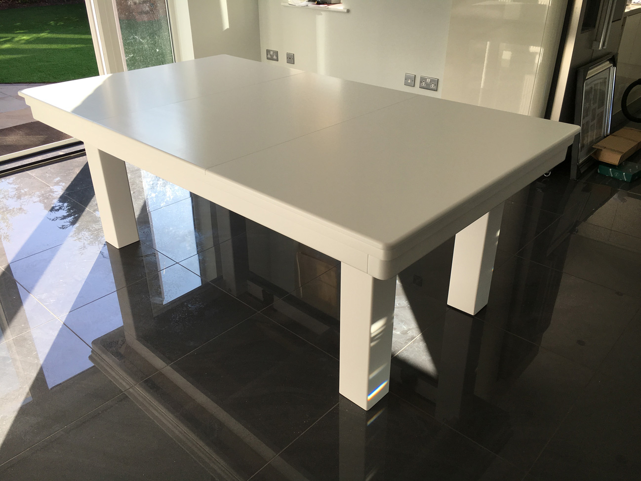 Modern 7ft Pool Dining Table In White Blue Pool Table