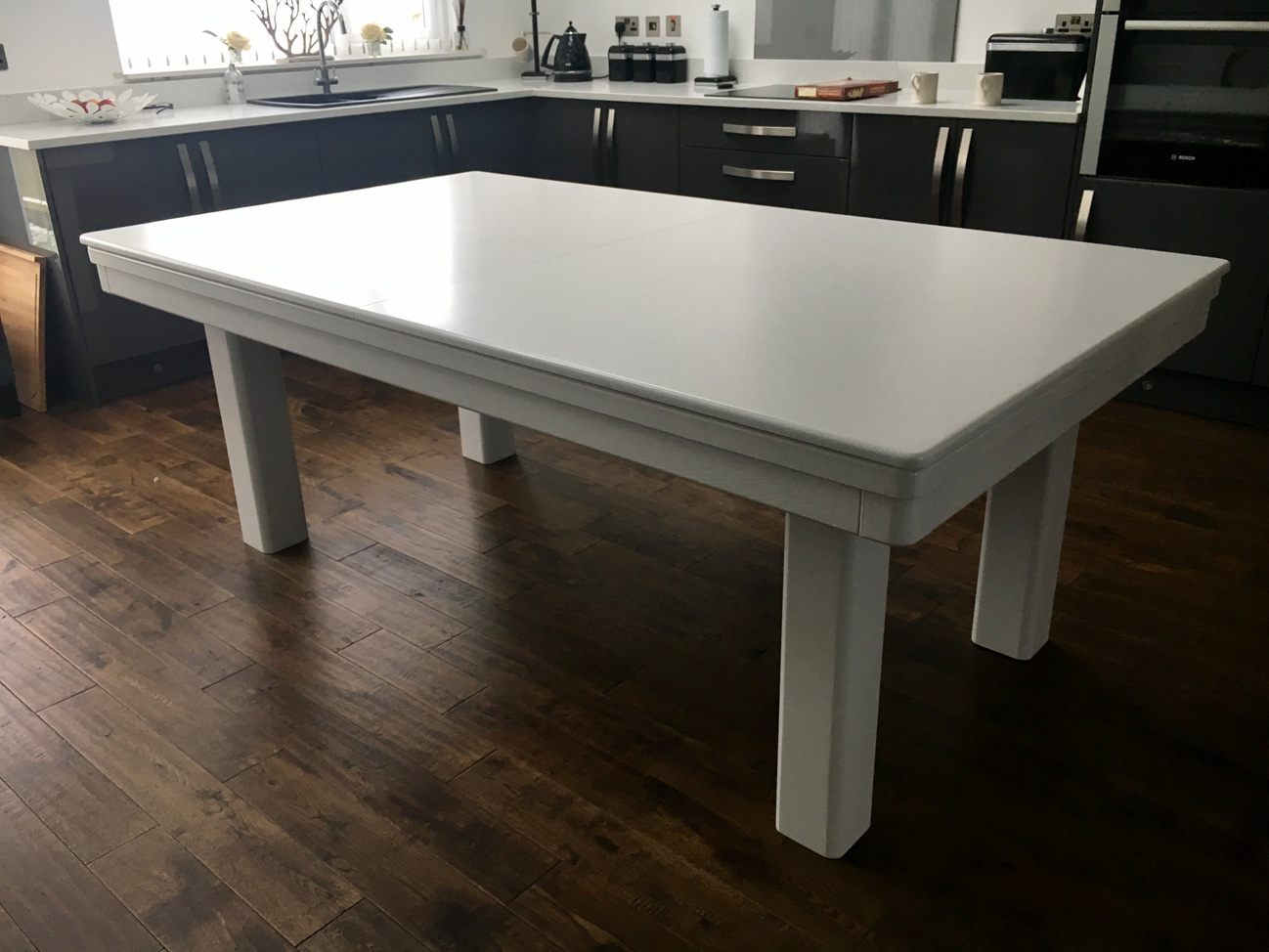 Modern 7ft pool dining table in white silver pool table for Latest style dining table