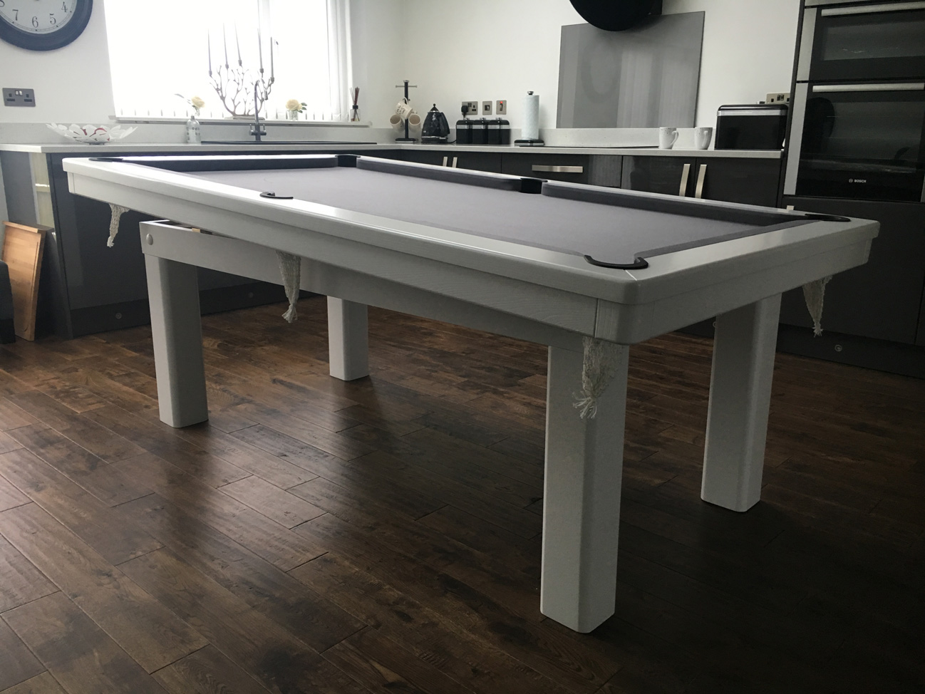 Modern 7ft Pool Dining Table In White Silver Pool Table