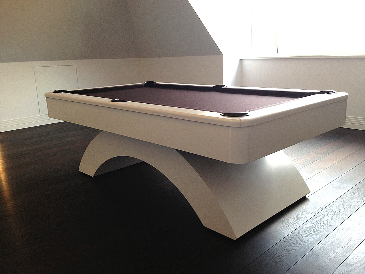 White Waterfall Tables ~ Olhausen waterfall pool table satin white chocolate cloth