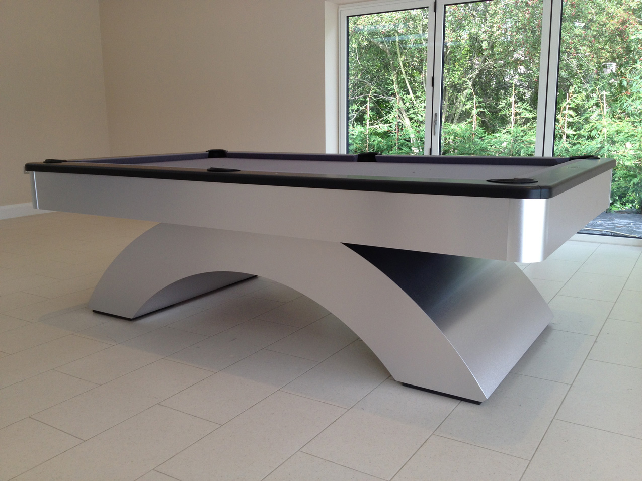 Olhausen Waterfall Pool Table Brushed Aluminium Grey Cloth