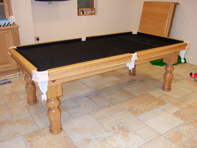 7ft Oak Snooker Dining Table With Black Cloth View · View