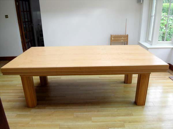 7ft snooker dining table made of oak with sage cloth cover for 7ft dining room table