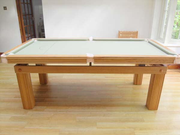 7ft snooker dining table made of oak with sage cloth cover