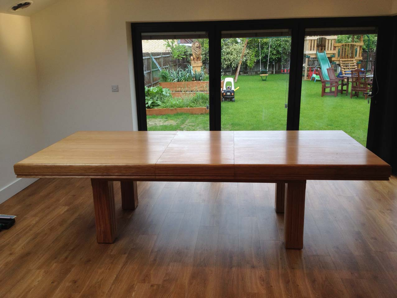 Pool dining table extended top in oak red pool tables for 7ft dining room table