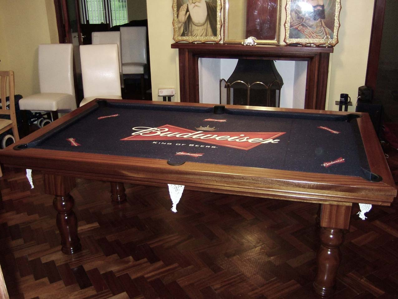 pool dining table with bud bow tie cloth pool tables
