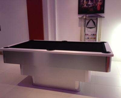 Tiered Contemporary English Pool Table - White Cushion Rail