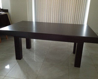 Pool Dining Table - 6ft in Black / Silver