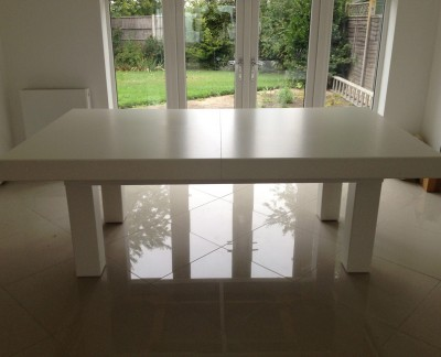 Pool Dining Table - 7ft in White / Black