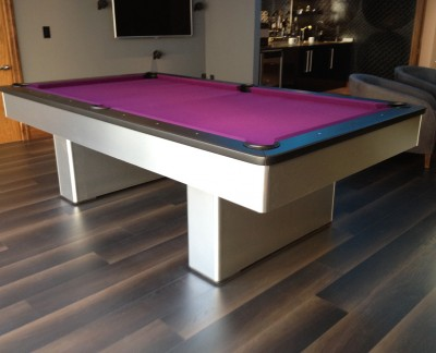 Olhausen Monarch Pool Table in Brushed Aluminium (Purple Cloth)