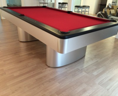 Olhausen Sahara Pool Table in Brushed Aluminium (Red Cloth)