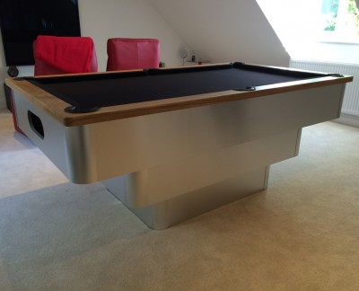 Tiered Contemporary English Pool Table - Black Cloth