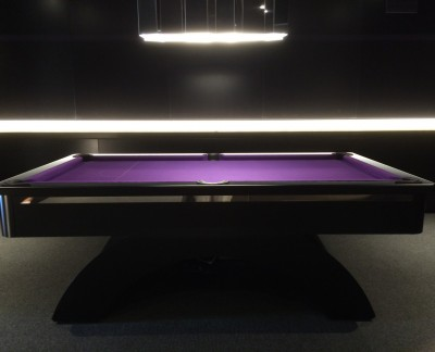 Arched Contemporary English Pool Table - Black with Metal Insert