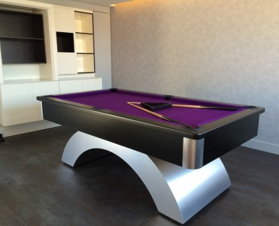 Arched Contemporary English Pool Table - Black Cushion Rail and Apron