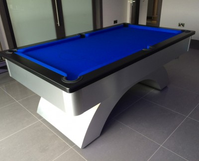 Arched Contemporary English Pool Table - Black Cushion Rail
