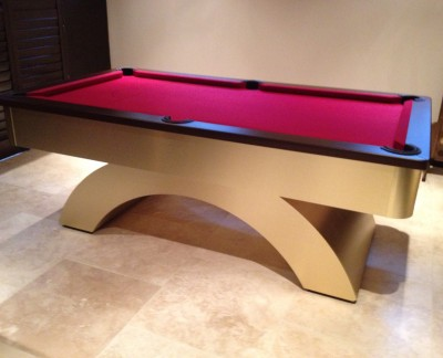 Arched Contemporary English Pool Table - Brushed Brass