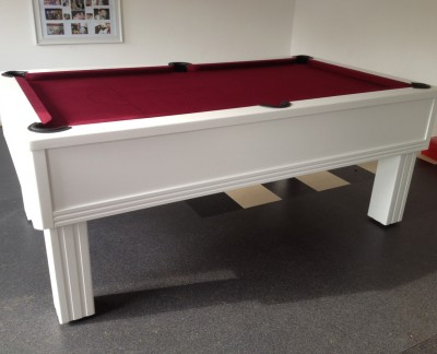 Emperor English Pool Table in White and Burgundy Cloth