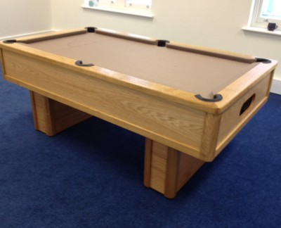 Emperor English Pool Table in Oak with Taupe Cloth