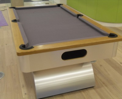 Arched Contemporary English Pool Table - Oak Cushion Rail