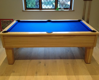 Emperor English Pool Table in Oak with Blue Cloth