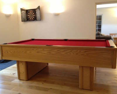 Emperor English Pool Table in Oak with Red Cloth