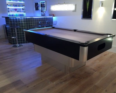 Tiered Contemporary Aluminium / Black English Pool Table - Silver Cloth