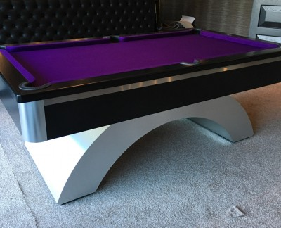 Arched Contemporary English Pool Table - Brushed Aluminium Strip