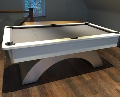 Arched Contemporary English Pool Table - White Cushion Rail & Apron