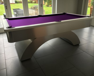 Arched Contemporary English Pool Table - White Cushion Rail