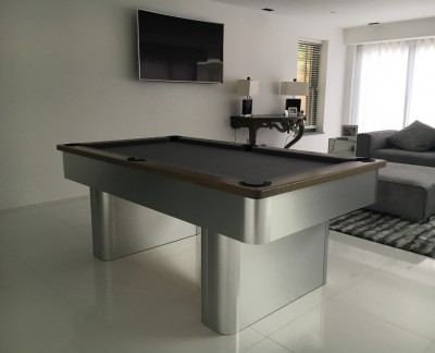 Pedestal Contemporary English Pool Table - Silver Cloth