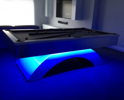 Arched Contemporary English Pool Table - 8ft with Silver Cloth