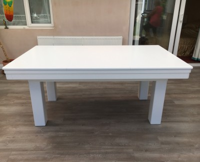 Pool Dining Table - 6ft White / Silver